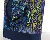 Large handbag, tote bag, navy blue, seahorse batik, gift for women, deesdeezigns