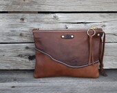 Mini Leather Zippered Purse /  Phone Case / Camera Wristlet / Leather Pouch / Whiskey Brown LeatherPurse / Handmade