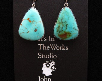 Sterling Silver and Turquoise Freeform Earrings