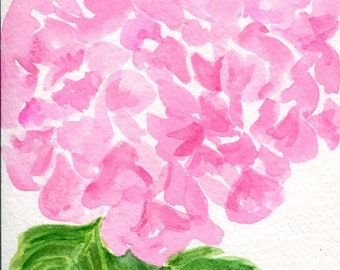 Pink Hydrangea watercolors paintings original, watercolor 4 x 6 watercolor painting of pink hydrangea, flower art floral , hydrangea art