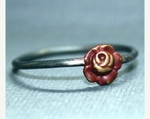 25% OFF Black/Cyber SALE Red Rose Ring brass charm and blackened sterling silver band