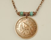 New Zealand Coin Jewelry Necklace 1940 Tui Bird