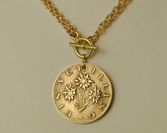 Austria Coin Necklace 1959 Schilling Edelweiss Flowers