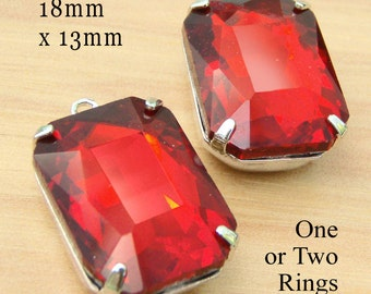 Red Glass Beads, Octagon, 18mm x 13mm, Silver Settings, Brass Settings, Framed Glass Pendant, Rhinestone, Glass Gems, Cabochon, One Pair