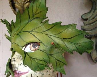 LEAFMASK, leather leaf, Spring Green leaf mask, leather mask by Faerywhere