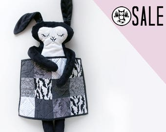 SALE - 25% off - Black and White Rabbit with Quilt- Super soft minky fabric plush doll and handmade mini quilt