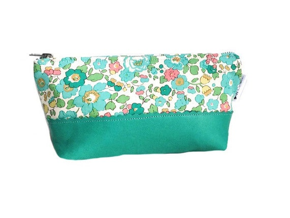 Leather Pouch, Leather Clutch, Small Leather Pouch, Teal Leather Zipper Pouch, Makeup Bag, Cosmetic Bag, Toiletry Bag