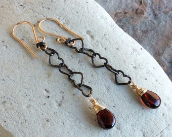GARNET Earrings with heart chain, mixed metals, 14k gold-filled wire oxidized sterling silver heart chain, handmade jewelry AngryHairJewelry