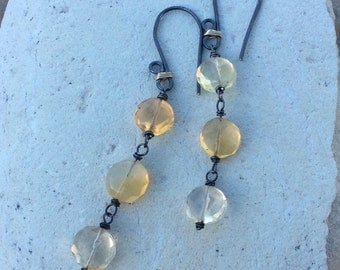 Mexican Fire Opal Earrings, Sterling silver, mixed metals, Sterling silver and gold filled
