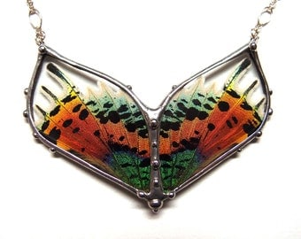 Phoenix Butterfly Art Jewelry - Double Sunset Moth Necklace - Real Colorful Moth Wings - Boho Chic Statement Necklace