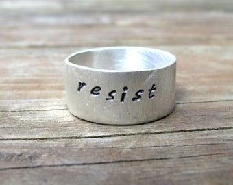 Resist Persist Ring ACLU Fundraiser Sterling Silver Unisex Mens Women's Ring