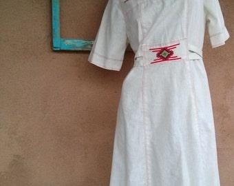 Vintage 1970s Dress Southwestern Hippie US10 B38 2014507