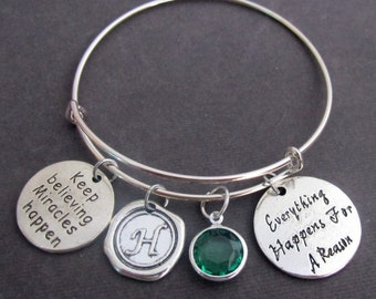 Everything Happens for a reason Expandable Bangle, Divorce, Break Up,Strength, Strong, Live with no regrets Bracelet, Free Shipping In USA
