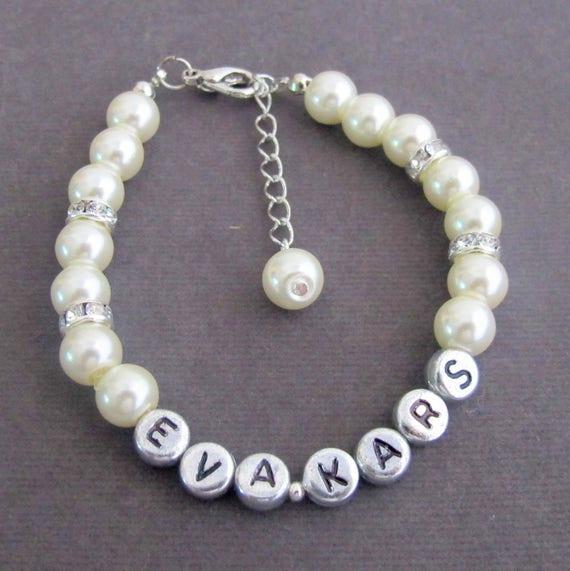Pearl Name Bracelet,Bridesmaid Bracelet,Personalized Wedding Jewelry,Child Name Bracelet,Monogram,Name, Children Bracelet, Free Shipping USA