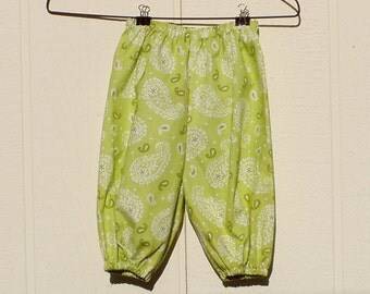 Light Green Paisley Cotton Pants with Elastic at Ankle, Size Petite Slim 0-3 Months