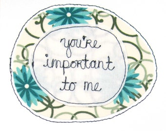 Greeting Card Sewn Thread Romantic Dating Romance Friendship Importance Important I Like Love Value Respect You Blue Green Cream Significant