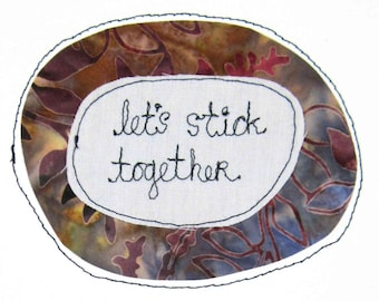 Greeting Card Blank Stitched I Like Love You Together United Pair Union Team Devoted Permanent Committed Lasting Commitment Romance Couple