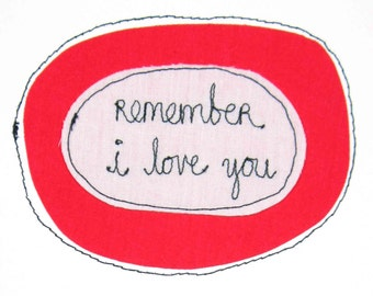 Greeting Card Blank Stitched Text Sewn Thread Remember Reminder I Love You Fond Adore Smitten Romance Dating Relationships White Black Red