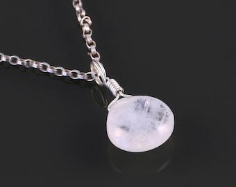 Rainbow Moonstone Pendant. Sterling Silver Necklace. Genuine Gemstone. June Birthstone. Briolette Pendant. Gift for Her. f16n019