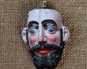 Bearded Man Pendant Frank Face Pendant handmade pendant wood pendant handmade jewelry mask pendant vintage image