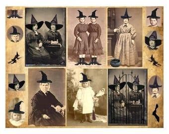Witches  - Digital Collage Sheet - Instant Download