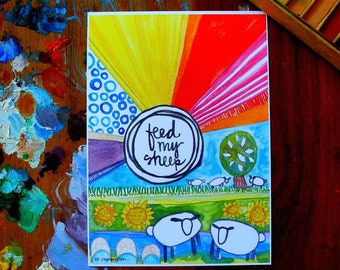 feed my sheep - 5 x 7 inches