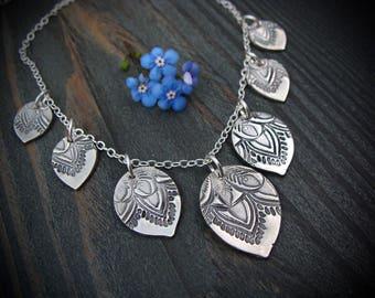 peacock petal necklace