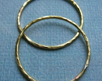 Hammered Bright Brass Circle Links - 1 pair - 27mm - 16 gauge Soldered Circles
