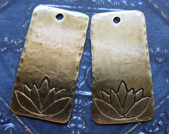 Antiqued Brass Lotus Stamped Rectangles - 1 Pair - 28mm in length