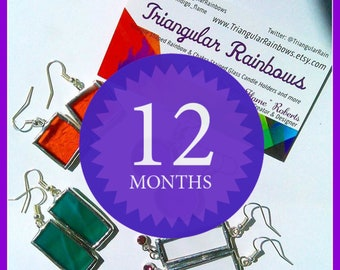 One Year/ 12 month subscription to the Stained Glass Earring of the Month Club handmade ooak gifts for her Mystery Gifts