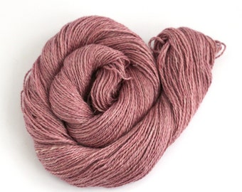 Dusky pink DK yarn, hand dyed baby alpaca linen silk blend double knitting crochet yarn skein, Perran Yarns natural dye light worsted uk