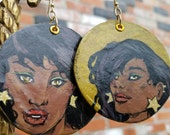 Starlette - Sexy African American superhero - hand-painted comic book earrings - yellow