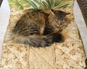 Cat Bed, Cat Blanket, Pet Furniture Cover, Fabric Pet Bed, Travel Pet Bed, Sofa Cover, Tan Pet Blanket, Pet Quilt, Washable Pet Bed, Pet Bed