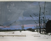 South Field at Dusk, Original Winter Landscape Collage Painting on Paper, Stooshinoff