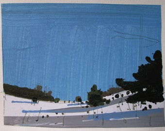 Home Valley Blue, Original Winter Landscape Collage Painting on Paper, Stooshinoff