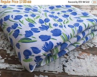 SALE- Blue Floral Fabric- Reclaimed Bed Linens