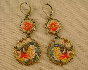 Fall Garden - Vintage Recycled Hand Cut Floral Fall Colors Tin Earrings - Upcycled Repurposed Jewelry - 10th Anniversary Gift