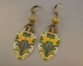 Tutti Fruiti - Vintage Recycled Hand Cut Floral Orange Tin Earrings, Recycled Tin Earrings  - 10th Anniversary Gift
