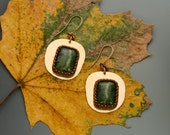 Green Opal Earrings. Beaded bezel, epoxied to a vintage brass stamping.