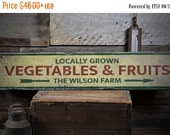 ON SALE Locally Grown Vegetables & Fruit Arrow Wood Sign, Personalized Family Name Farmstead Decor - Rustic Hand Made Vintage Wooden Sign EN