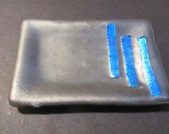 Grey Glass with Blue Dichroic Glass Soap Dish