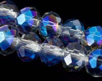 "16"" Strand 2mm x 3mm Crystal Blue AB Faceted Crystal Rondelle #GZA008"