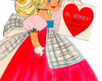 Vintage Hallmark 1960's Little Girl Valentine's Day Card and Doll Greetings Card (B17)