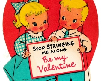 Vintage Be My Valentine Original UNUSED Valentine's Day Greetings Card (B17)