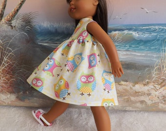 14 and 14.5 Inch Doll Clothes Dress Cute Pastel Owls Fabric Fits Dolls like H4H and Wellie Wishers