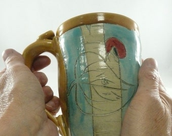 Unique coffee cup in yellow, pottery tea mug, unique coffee mugs, owl teacup, pen cup, ceramics and pottery Made in America Mug, Owl Cup 710