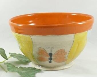 Handmade Butterfly Bowl ceramic salad bowl - handmade kitchen home decor - art bowl - salad side dish - cereal bowl - bright color 751