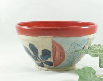 Red Salad Bowl  - Personal size holds 24 ounces , soup bowl salad bowl key bowl serving dish pottery and ceramics, artistic decoration 755