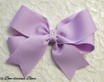 Lavender Tails Down Hair Bow, 4 Sizes Available, small, medium, large, extra large, lavender hair bow, baby bows, toddler bows, girls bows