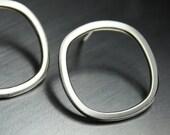 SALE Geometric Earrings, Square Hoops, Sterling Silver